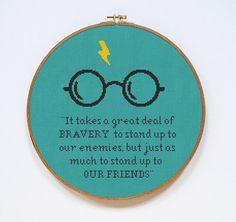 Harry Potter Cross Stitch Pattern Bravery Quote by Stitchering