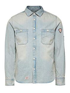 JACK & JONES VINTAGE CLOTHING - Denim-Hemd von VINTAGE - Regular fit - Standardkragen - Geknöpfte Brusttaschen - Patches am Ärmel - Gewaschener und Used-Look 100% Baumwolle...