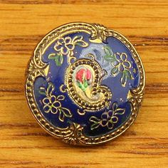 Antique Victorian Glass Button, Blue Glass w/ Gold  Colorful Paisley