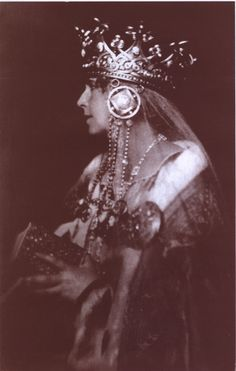 Queen Marie of Romania in one of her more massive crowns. See also color photo this board.
