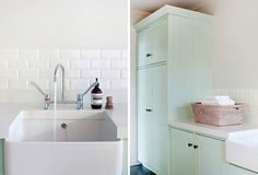 Perfect bathroom / laundry details. Subway tiles, deep ceramic laundry sink with lab tapware, sea green cabinetry…