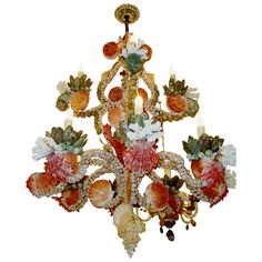 seashell and coral chandelier, 2 tiers - usa - c2010 -   LENGTH:     26 in. (66 cm)         HEIGHT:     29 in. (74 cm)