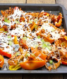 Buffalo Chicken Mini Pepper Nachos - a low-carb recipe for nachos that use mini peppers in place of chips!