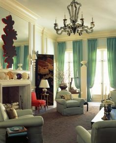 Living Room:Modern Curtain Beautifies Your Window On Living Room Modern Blue Color Curtain Beautifies Your Window On Living Room With Sofa And Table As Well As Luxury Chandelier And Desk Lamp