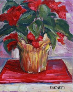 A personal favorite from my Etsy shop https://www.etsy.com/listing/399984815/poinsettia-still-life-original-oil