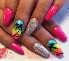Tropical Nail Designs, Beach Nail Designs, Nail Art Designs, Summer Acrylic Nails, Best Acrylic Nails, Bright Nails, Pink Nails, Bright Summer Gel Nails, Cute Nails
