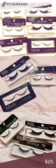 🔅NWT *False Lashes*🔅W/ BONUS GIFTS😍🎁👏🏼 🔅BRAND NEW IN BOX🔅ALL STYLES BUT ONE are by *Fantasy Makers*.🔅THE ONE BRAND is MUA.🔅CHOOSE SEPARATELY OR GET ALL NOW!🔅THE ONE WHO PURCHASES ALL GETS A FREE BONUS GIFT- Eyelash Adhesive in *BLACK* by MUA.🔅Each individually will be $5 OR ALL for just $25!!🔅ASK TO MAKE A LISTING NOW FOR UR FAV(S)!🔅STYLES ARE: MYSTERIOUS. TWILIGHT. NATURAL. CRISS CROSS NATURAL & DEMI WHISPIES🔅ALL *BLACK*🔅MUA *ADHESIVE GLUE* CAN BE SOLD SEPARATELY FOR JUST…