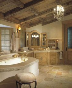 Love the rustic shutters <3 Rustic Traditional Bathroom Design | My dream bathroom!   Great rustic beams and floors! Love shutters too !