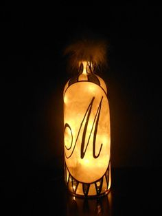 Hand Painted Lighted Wine Bottle. Your Initials Stained Glass look