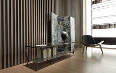 tavolino Planet, struttura nichel nero, piano marmo marquinia, piano inferiore laccato grigio ombra