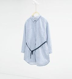 Image 2 of Striped long shirt with belt from Zara