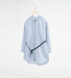 Stribet lang skjorte med bælte-SKJORTER-PIGE   4-14 år-BØRN   ZARA Danmark