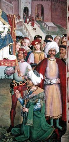 "Prince Cem (standing) | Detail, ""Aeneas Piccolomini (Pope Pius II) Arrives in Ancona (Pinturicchio) 1502-08"