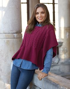 Free Knitting Pattern for a Cabled Ladies Poncho. Skill Level: Intermediate Women's poncho free knitting pattern with cable features. Free Pattern More Patterns Like This! Free Knitting Patterns For Women, Poncho Knitting Patterns, Poncho Shawl, Poncho Sweater, Knitted Cape, Knitted Shawls, Crochet Blouse, Knit Crochet, Laine Katia