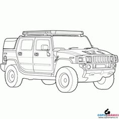 Free trucks and cars coloring pages Hummer H2, Hummer Truck, Cars Coloring Pages, Coloring For Kids, Car Drawing Pencil, Sonic Dash, Car Drawings, Picture Collection, Race Cars