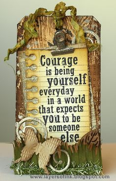 Quotes about courage and inner strength / Layers of ink: SA Sentiment set + Torn Notebook die / build your confidence Card Tags, Gift Tags, All Star, Timmy Time, Zealand Tattoo, Handmade Tags, Paper Tags, Artist Trading Cards, Tim Holtz