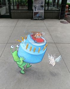 sidewalk chalk art  |  David Zinn
