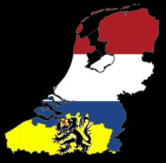 Flag map of Greater Netherlands, including the Netherlands and Flanders.