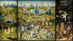 The Garden of Earthly Delights , 220 × 389 cm, oil painting on canvas , c. 1500-1505, Museo del Prado , Madrid . An incredible painting analysed in detail here - https://euclides59.wordpres...