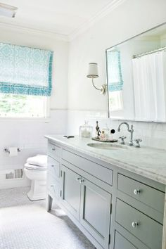I really like the floor, vanity+top, and subway tile. I'd like the vanity to be wall mounted.    grey bathroom vanity cabinets - Google Search