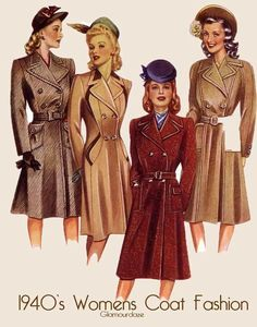 All Of The Ways You Can Wear 1940s Fashion 1940s Fashion Women, Vintage Fashion, Womens Fashion, Fashion Trends, Fashion Fashion, Fashion Black, Fashion Spring, Fashion History, Winter Fashion