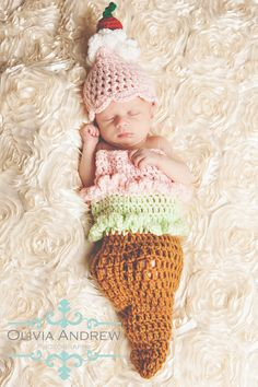 Ice Cream Cone Cocoon and Hat Crochet set  Made by Boutique7one7, $45.00
