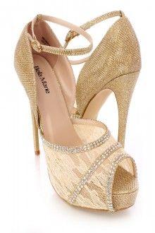 Gold Rhinestone Lace Peep Toe High Heels Shimmer Fabric