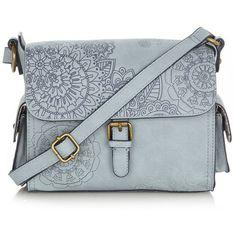 Light blue debossed floral satchel bag (£44) ❤ liked on Polyvore featuring bags, handbags, purses, bolsas, accessories, satchel hand bags, hand bags, floral crossbody purse, handbags crossbody and floral purse