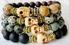 "Image of BOYBEADS ""Skulls Out West"" Men's Beaded Bracelet Gift Set- Natural Stone + Wood"
