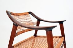 Vintage cane and wood armchair