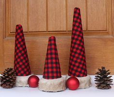 Buffalo Plaid Faux Fur Trimmed Christmas Cone Topiaries Red