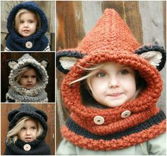 We have rounded up a collection of gorgeous Crochet and Knitted Cowls Patterns that you won't want to miss and we have a Fox Hooded Cowl Free Pattern too. Crochet Buttons, Cute Crochet, Crochet For Kids, Crochet Baby, Knit Crochet, Easy Crochet, Crochet Hooded Cowl, Knit Cowl, Knitted Cowls
