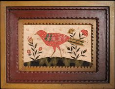 Ca. 1791-1804 SONGBIRD ENGRAVER ARTIST - PENNSYLVANIA Hand drawn replica adapted from original drawing Hand carved milk paint frame