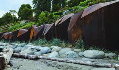 Landscape architect Paul Sangha has created METAMORPHOUS, a corten steel sculpture designed to provide a solution to foreshore erosion for a waterfront property in Vancouver, Canada. Architecture Romane, Architecture Baroque, Landscape Architecture, Architecture Design, Landscape Walls, Landscape Design, Garden Design, Landscape Structure, Steel Retaining Wall