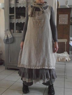 L'armoire de Blandine ~ Long dress/skirt with feminine apron and neck scarf over long loose fitting pants and flat bottomed shoe/boots~