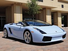 "Lamborghini Gallardo Spyder ... in ""Baby Blue,"" for some strange reason."