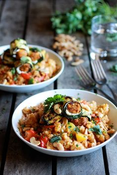 Curried Zucchini, Chicken and Goat Cheese Rolls with Cashew Mango Fried Rice by Half Baked Harvest