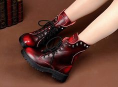 Genuine Leather Women's Lace-Up #Platform Boots