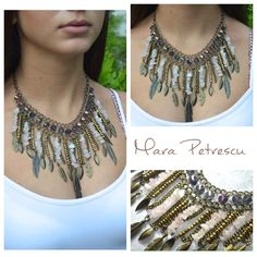 Bronze and pink statement necklace