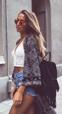 #street #style lace crop top + geometric + denim @wachabuy