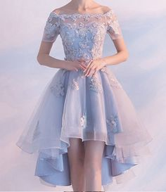 Light Blue High Low Elegant Prom Dress Lace Appliques Beaded Off Shoulder Short Sleeve Back Design Lace-up Short Homecoming Dresses Material:+Satin+Tulle+Lace+ Occasion:Prom,Evening,Homecoming Neckline:+Beteau Customers+Need Light Blue Homecoming Dresses, Cute Prom Dresses, Elegant Prom Dresses, Ball Dresses, Beautiful Dresses, Dresses Dresses, Summer Dresses, Wedding Dresses, Backless Dresses