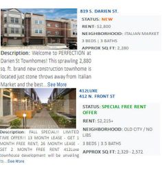 Luxury Townhomes for rent in PhiladelphiaPA HomesApartments