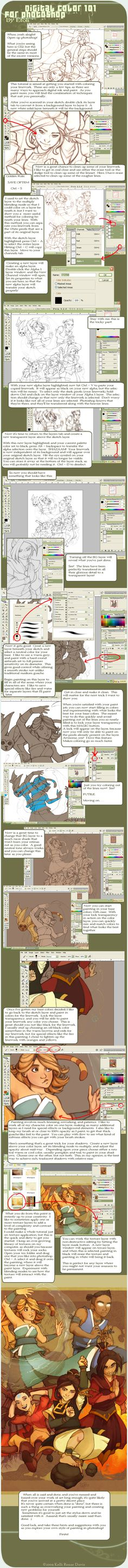 Tutorial: Digital Paint in Photoshop (PS) by ©Etoli, also features a great technique for transferring lineart from a solid background to transparent. Digital Painting Tutorials, Digital Art Tutorial, Painting Tips, Painting Process, Drawing Lessons, Drawing Techniques, Art Lessons, Ps Tutorials, Design Tutorials