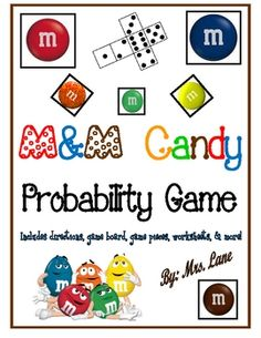 Are your students learning about probability? This game makes learning probability FUN with an M and M candy theme! It makes a great center, workst. Math Strategies, Math Resources, Math Activities, Educational Activities, Math Games, Math Teacher, Math Classroom, Kindergarten Math, Classroom Ideas