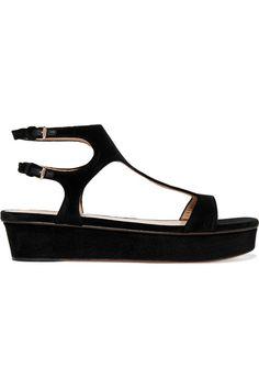 Valentino - Velvet Platform Sandals - Black - IT37.5