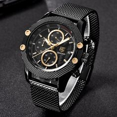 Discover The Obelisk Chronograph Stainless Steel Watch. Best affordable watches brands to buy online on BringWish. Sport Watches, Cool Watches, Watches For Men, Men's Watches, Best Affordable Watches, Mesh Band, Waterproof Watch, Audemars Piguet, Stainless Steel Watch