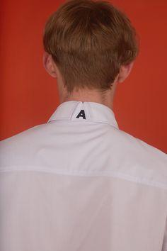 ADER error STORE Fashion Tag, Korea Fashion, Fashion Details, Mens Fashion, Mens Designer Shirts, White Shirt Men, Clothing Labels, Kurta Designs, Apparel Design