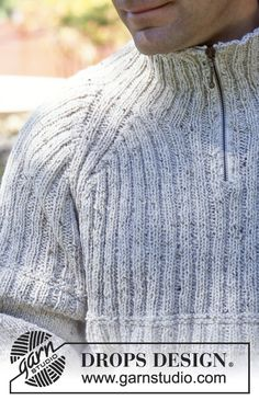 DROPS Pullover in Angora-Tweed (with or without zipper). Ribbed scarf in Vienna Free pattern by DROPS Design. Jumper Knitting Pattern, Jacket Pattern, Knitting Patterns Free, Knit Patterns, Free Knitting, Free Pattern, Drops Design, Tweed, Pull Camionneur