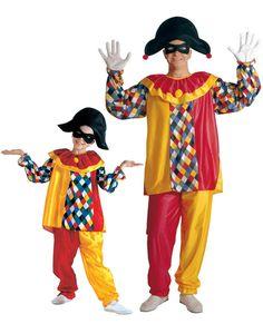 Disfraz de pareja arlequín padre e hijo: Disfraz de arlequín niñoEste disfraz de arlequín para niño incluye una camisa, un pantalón, un sombrero y un antifaz (zapatos no incluidos).La camisa es de manga...