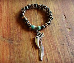 Tribal Mala Prayer Beads blue Jasper Beads by sweetfreedomshop